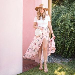 Scoop Blush Pink Floral Maxi Skirt